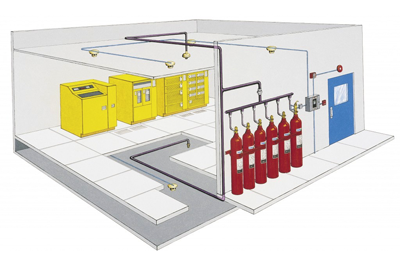 image of a fixed fire suppression system.